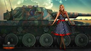 Фотография WOT Рисованные Танк Nikita Bolyakov Платье Игры Девушки