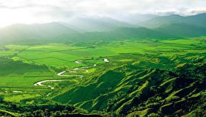Обои Пейзаж Поля Горы Колумбия Природа