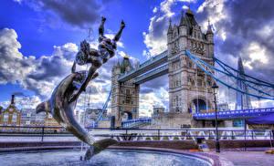 Обои Англия Мосты Фонтаны Лондон HDRI Города