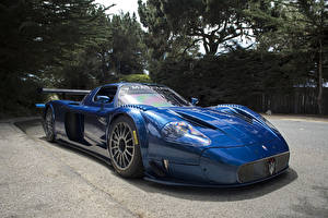 Картинки Maserati Синие Фары Maserati MC12 Автомобили