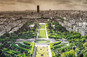 Фотографии Франция Парк Париже Сверху Города