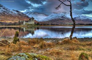 Обои Пейзаж Шотландия Горы Замки Озеро HDRI Kilchurn Castle Природа