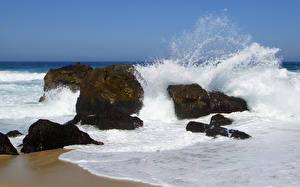 Фотографии Море Камни Волны Брызги Природа