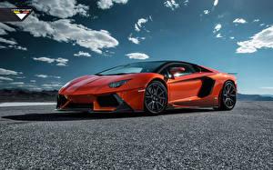 Картинка Ламборгини Небо Сбоку Асфальт Оранжевый Люксовые LP700-4, Lamborghini Aventador Автомобили