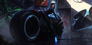 Обои Мотоциклист cyberbike cyberpunk Фэнтези Мотоциклы Девушки фото