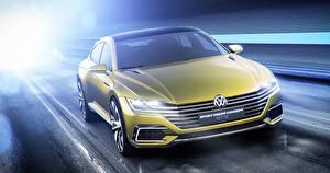 Картинки Volkswagen Спереди 2015 Sport Coupe Concept GTE автомобиль