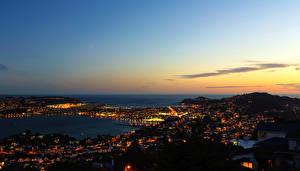 Картинки Новая Зеландия Реки Небо Ночные Горизонт Wellington город
