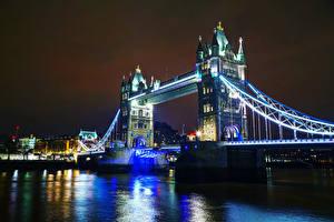 Картинки Великобритания Мосты Англия Лондон Ночные Города