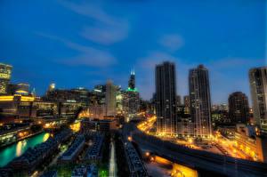 Картинка Штаты Небоскребы Дома Чикаго город Ночь HDRI Illinois Города