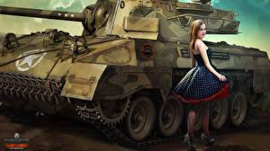 Фото World of Tanks Рисованные Танки Nikita Bolyakov Платье Игры Девушки
