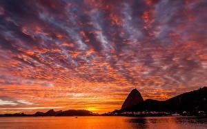 Картинка Бразилия Рассветы и закаты Небо Рио-де-Жанейро Пляж Природа