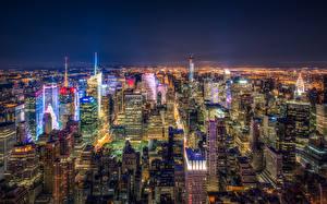 Обои США Небоскребы Нью-Йорк Мегаполис Ночные Города