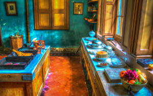 Фотография Интерьер Фрукты Дизайна Кухня Тарелка HDR