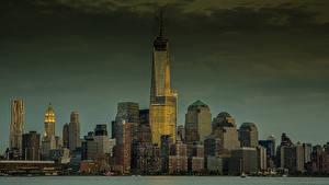 Фотографии Штаты Небоскребы Дома Нью-Йорк Манхэттен В ночи город