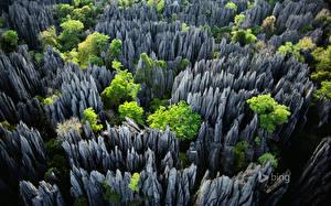 Картинка Парки Утес Сверху Madagascar Tsingy de Bemaraha Природа