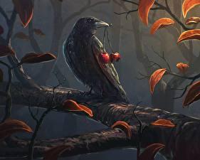 Картинка Птицы Рисованные Вороны Вишня Ветки
