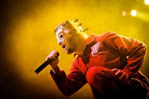 Обои Slipknot Маски Микрофон Corey Taylor Музыка фото