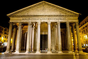 Обои Италия Храм Религия Рим В ночи Колонна Pantheon Colonna город