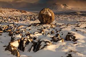 Фотографии Англия Камни Зимние Парки Снегу Yorkshire Dales Ingleborough Природа