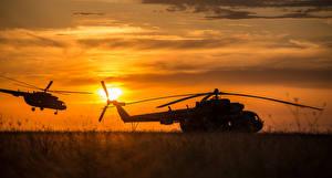 Фотография Вертолеты Рассветы и закаты Авиация