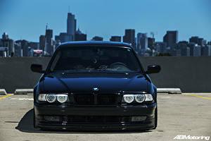 Фотографии БМВ Штаты Чикаго город Спереди Черный E38 Stance Автомобили Города