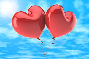 Обои Небо Воздушных шариков Сердца Две 3D Графика