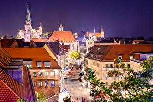 Фотографии Германия Здания Нюрнберг Улица Ночь Уличные фонари