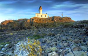 Обои Великобритания Побережье Маяки Камни HDR Turnberry Lighthouse Природа фото