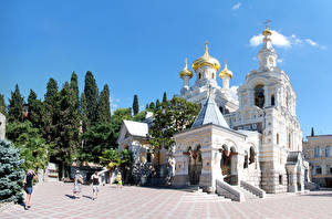 Обои Крым Россия Храмы Ялта Города фото