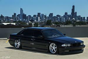 Картинка BMW США Чикаго город Черных E38 Stance авто Города