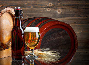 Фотография Пиво Бочка Вблизи Бутылка Бокал Колос Продукты питания