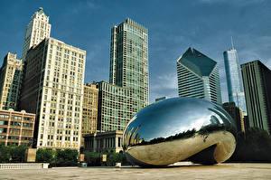 Фото Штаты Небоскребы Дома Чикаго город Улица Millennium Park Cloud Gate Города