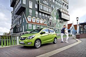 Картинка Opel Здания Желто зеленый Металлик 2015 Karl авто
