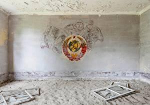 Фото Логотип эмблема Комната Стена СССР Серп и молот