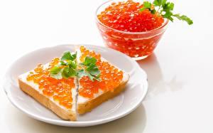Картинки Икра Бутерброды Крупным планом Тарелка Красный