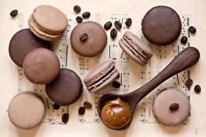 Обои Печенье Крупным планом Кофе Макарон Зерна Ложка