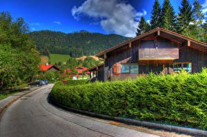 Фотография Германия Дома Дороги Улица Кусты HDRI Berchtesgaden Города
