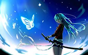 Фотографии Бабочки Небо Катана Сабли Reventon Девушки