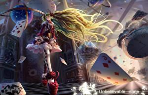 Фото Vocaloid Игральные карты Волос Платье Аниме Девушки