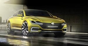 Фото Volkswagen Желтая Спереди 2015 Sport Coupe Concept GTE Автомобили