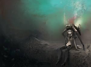 Картинка Kantai Collection Подводный мир yayaftw wo-class Девушки