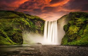 Фотографии Исландия Водопады Горы Реки Skogafoss Природа
