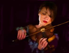 Картинки Рисованные Скрипки Music With Feeling Музыка Девушки