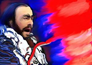 Обои Luciano Pavarotti Рисованные Magnificence Музыка фото