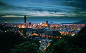 Обои Дома Тайвань Тайбэй Ночью город