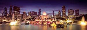 Картинки США Фонтаны Небоскребы Чикаго город Ночь Города