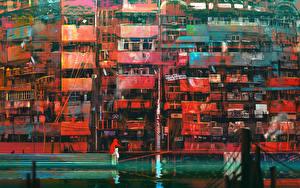 Картинка Здания Рисованные Балконе город