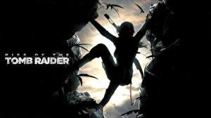 Фото Rise of the Tomb Raider Лара Крофт Скала Силуэты компьютерная игра Девушки
