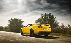 Картинки Chevrolet Желтые Вид сзади camaro muscle car Автомобили