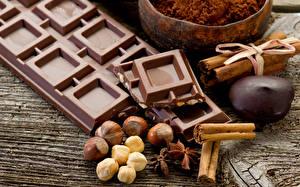 Обои Шоколад Орехи Корица Крупным планом Пища